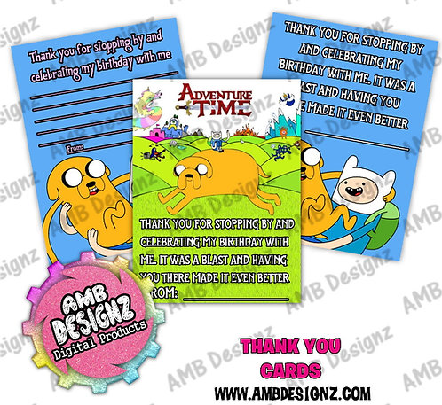 Adventure Time Thank you Cards - Adventure Time Party Supplies