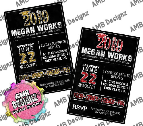 Glitter Year Graduation Invitations - Graduation Party Supplies