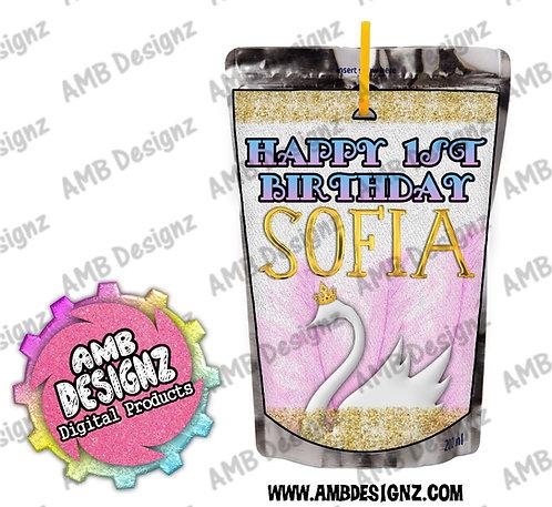 Swan Capri-Sun Juice Pouch Label - Swan Party Supplies