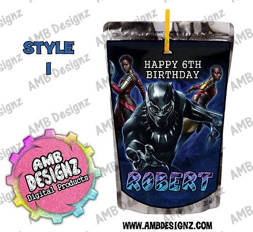 Black Panther Capri-Sun Pouch Label - Black Panther Party Supplies