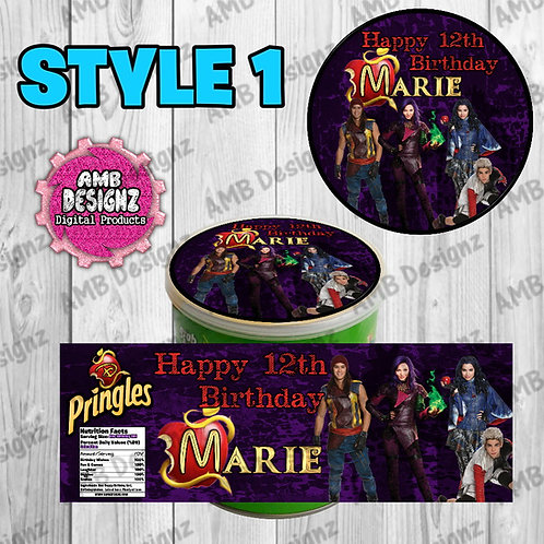 Descendants Pringles Can Labels - Descendants Party Supplies