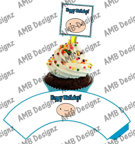 Adventure Time Cupcake wrap and Topper set  - INSTANT DOWNLOAD