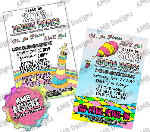 Oh, the Places You'll Go Graduation Invitations - Dr. Seuss Party Supplies