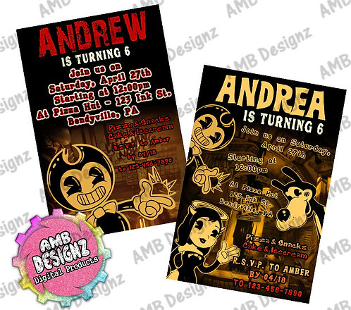 Bendy and the Ink Machine Invitations - Bendy and the Ink Machine Party Su