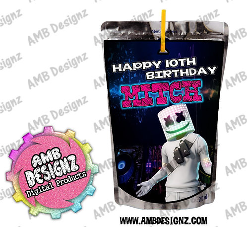 DJ Marshmello Capri-Sun Juice pouch label - DJ Marshmello Party Supplies