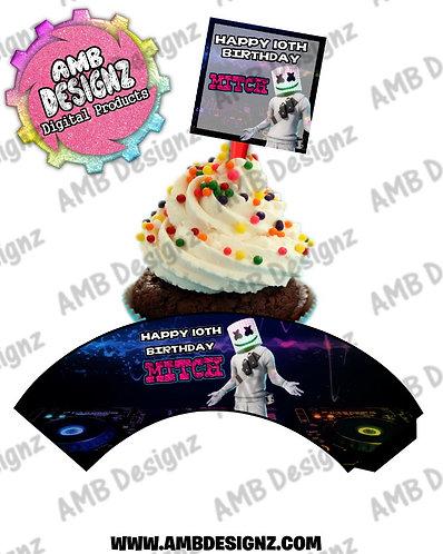 DJ Marshmello Cupcake Topper and Cupcake wrapper Party Supplies