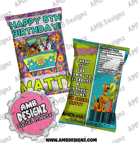 Scooby Doo Chip Bag Favor - Scooby Doo Party Supplies