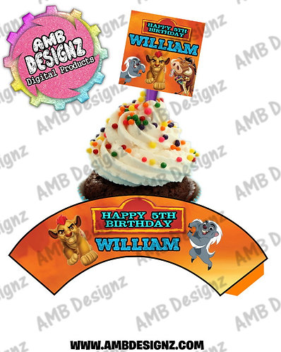 Lion Guard Cupcake Topper and wrapper, Lion Guard Party Supplies