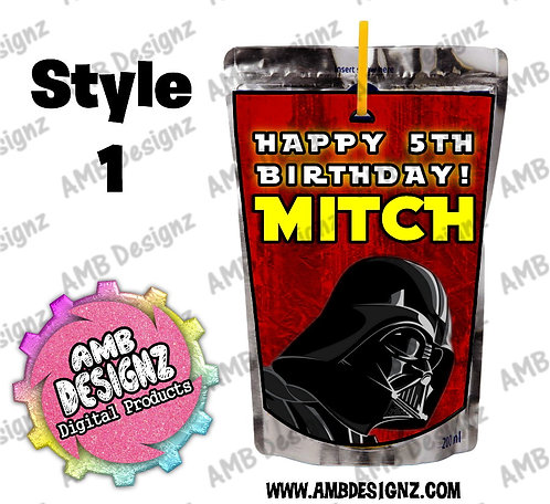 Star Wars Capri-Sun Pouch Label - Star Wars Party Supplies