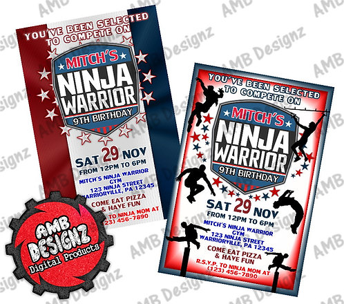 American Ninja Warrior Invitations - American Ninja Warrior Party Supplies