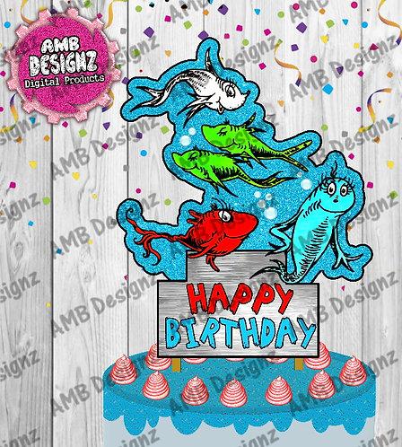 Dr. Seuss 1 Fish 2 Fish Cake Topper Centerpiece