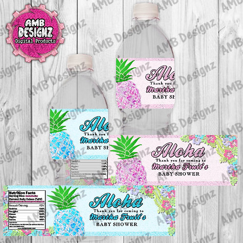 Pineapple Baby Shower Water Bottle Wrap - Pineapple Party Supplies