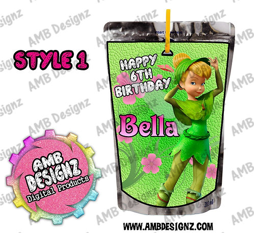 Tinkerbell Fairies Capri-Sun Pouch Label - Tinkerbell Fairies Party Supplies