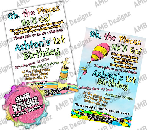 Oh, the Places You'll Go Invitations - Oh, the Places You'll Go Party Suppli