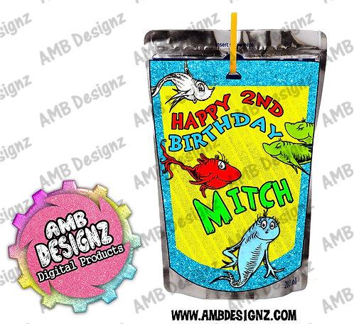 Dr. Seuss 1 Fish 2 Fish Capri-Sun Juice Pouch Label