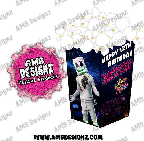 DJ Marshmello Popcorn Box Favor - DJ Marshmello Party Supplies