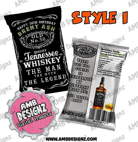 Jack Daniels Chip Bag Favor - Jack Daniels Party Supplies