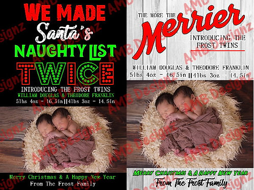 Twin Announcement Christmas Greeting Card