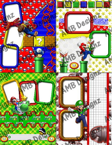 Mario and Friends Digital Scrapbooking Premade Album/Pages