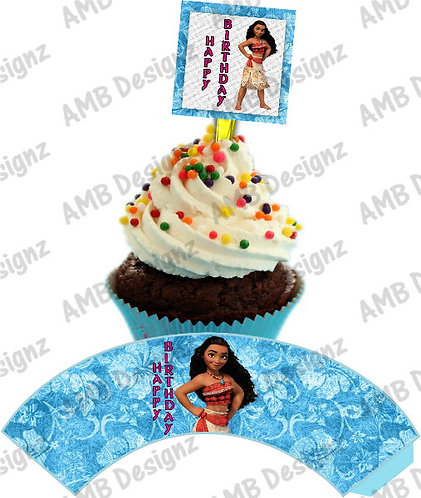 Disney's Moana Cupcake wrap and Topper set  - INSTANT DOWNLOAD