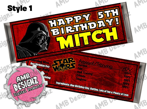 Star Wars Candy Bar Wrap, Star Wars Party Supplies