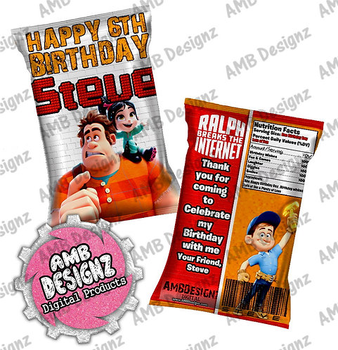 Wreck it Ralph Chip Bag Party Favor Party Supplies