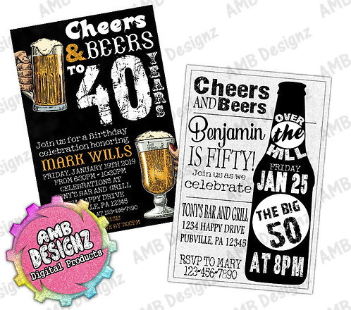 40th Birthday Invitations Cheers Beers