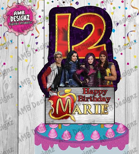 Disney Descendants Cake Topper Centerpiece - Disney Descendants Party Supplies