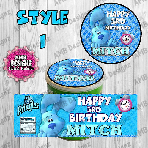 Blues Clues Pringles Can Labels - Blues Clues Party Supplies
