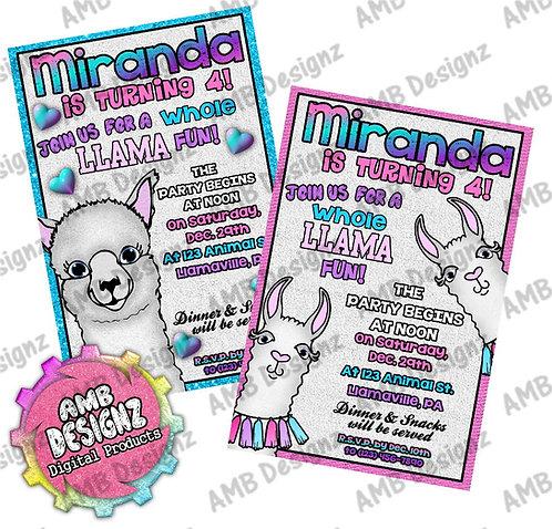 Llama Invitations - Llama Party Supplies