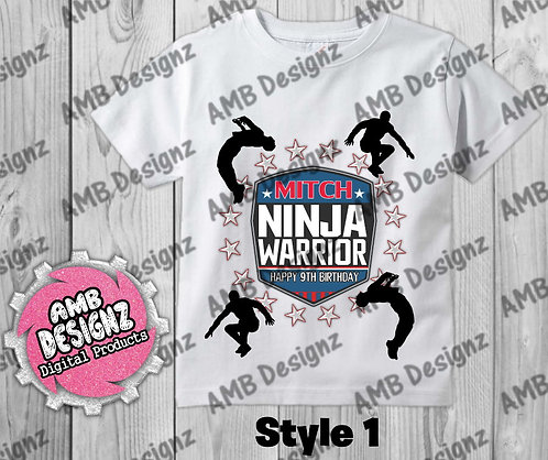 American Ninja Warrior T-Shirt Birthday Image - American Ninja Party Supplies