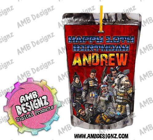 Apex Legends Juice Pouch Label - Apex Legends Party Supplies