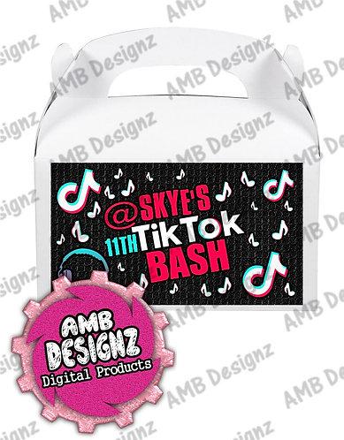 Tik Tok Gable Box/Treat Box Label Party Supplies - Tik Tok Party Supplies