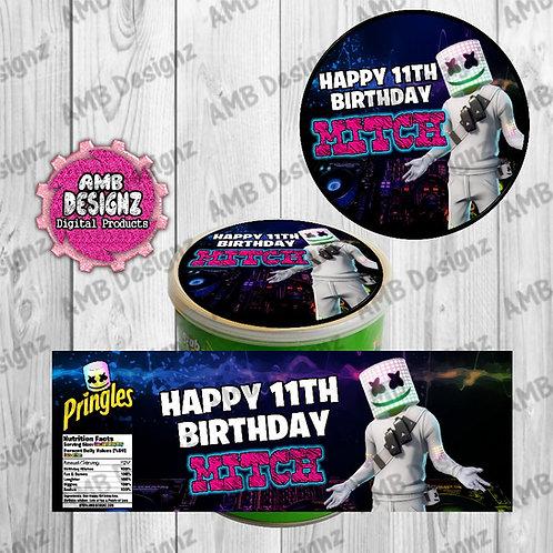 DJ Marshmello Pringles Can Labels - DJ Marshmello Party Supplies