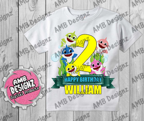 Baby Shark T-Shirt Birthday Image - Baby Shark Party Supplies