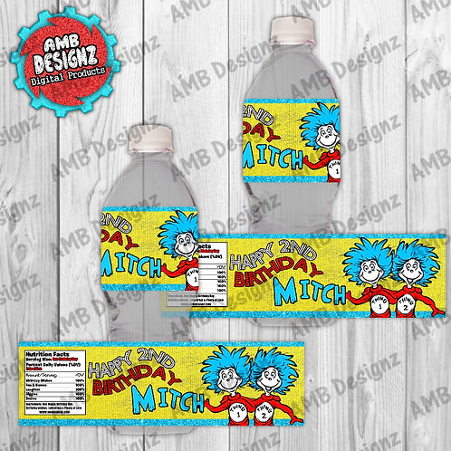 Dr. Seuss Thing 1 Thing 2 Water Bottle Wrap - Dr. Seuss Party Supplies