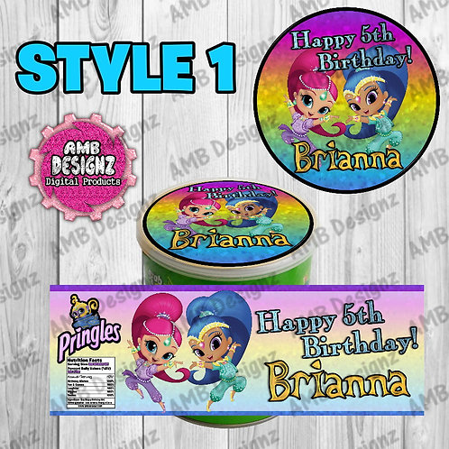 Shimmer and Shine Pringles Can Labels - Shimmer and Shine Party Supplies