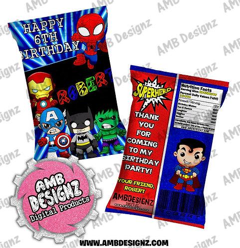 Superhero Chip Bag Party Favor - Superhero Party Supplies