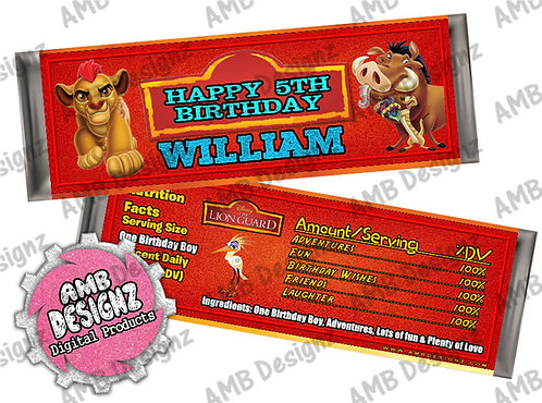 Lion Guard candy bar wrapper, Lion Guard Party Supplies