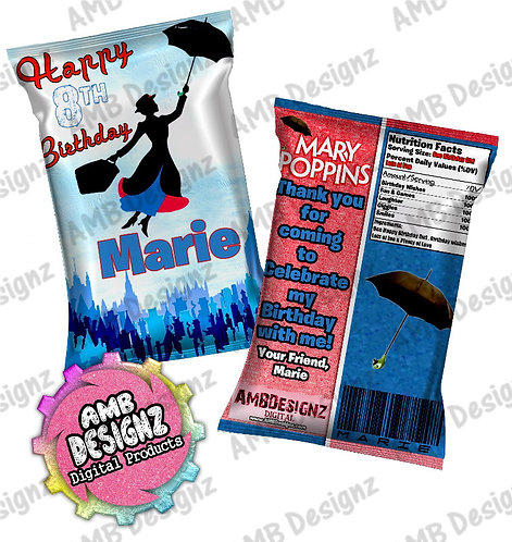 Mary Poppins Chip Bag Party Favor Party Supplies