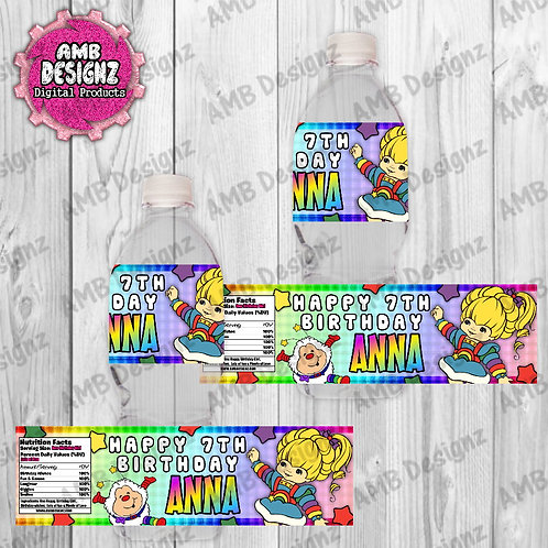 Rainbow Brite Water Bottle Wrap Party Supplies