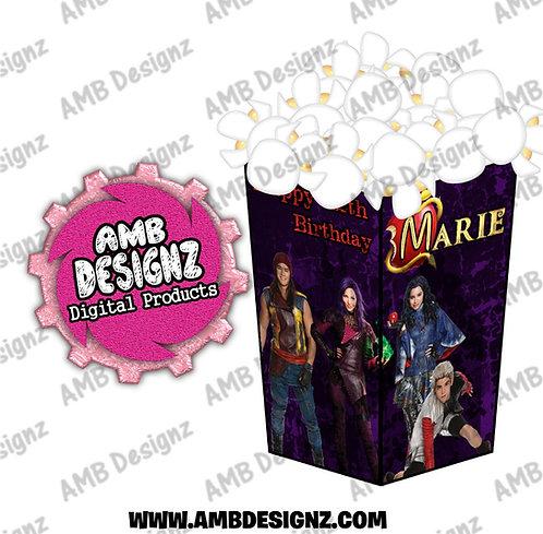 Disney Descendants Popcorn Box Favor - Disney Descendants Party Supplies