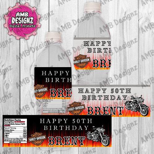 Harley Davidson Water Bottle Wrapper - Harley Davidson Party Supplies