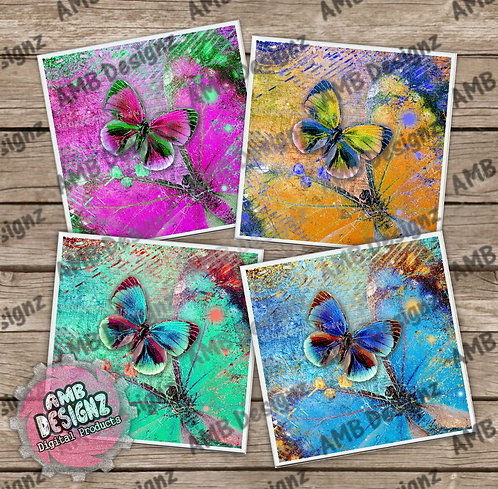 Rainbow Butterfly Themed Tile Coaster Set