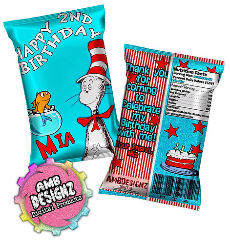 Dr. Seuss The Cat in the Hat Chip Bag Party Favor Party Supplies