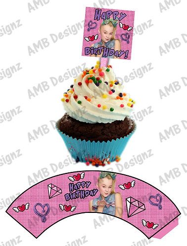 Jojo Siwa Cupcake wrap and Topper set  - INSTANT DOWNLOAD