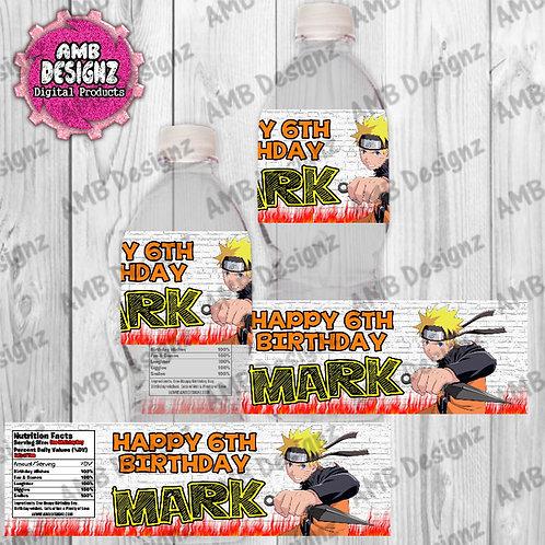 Naruto Water Bottle Wrap - Naruto Party Supplies
