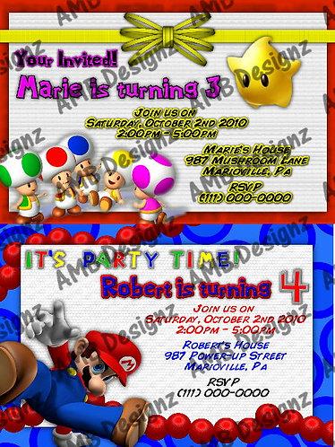 Mario party supplies Invitations
