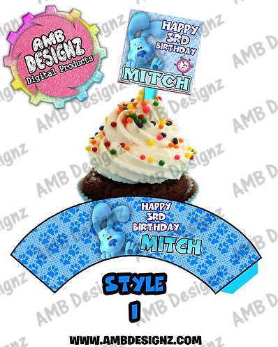 Blues Clues Cupcake Topper and Blues Clues Cupcake wrapper