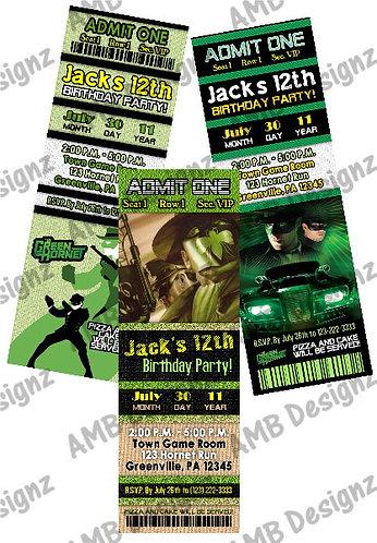 Green Hornet superhero Invitations